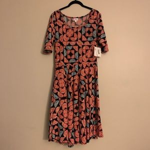 Lularoe Nicole style blue, red and black dress